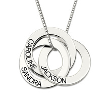 AILIN Sterling Silver Necklace Personalized Russian Interlocking Circles Gift for Mother