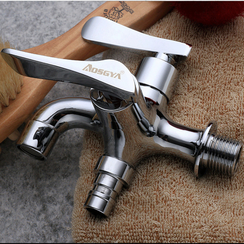 Double Water Outlet Garden Washing Machine Faucet Brass Tap Bathroom Bidet Faucet Polished chrome-plated Fast On FaucetsDouble Water Outlet Garden Washing Machine Faucet Brass Tap Bathroom Bidet Faucet Polished chrome-plated Fast On Faucets