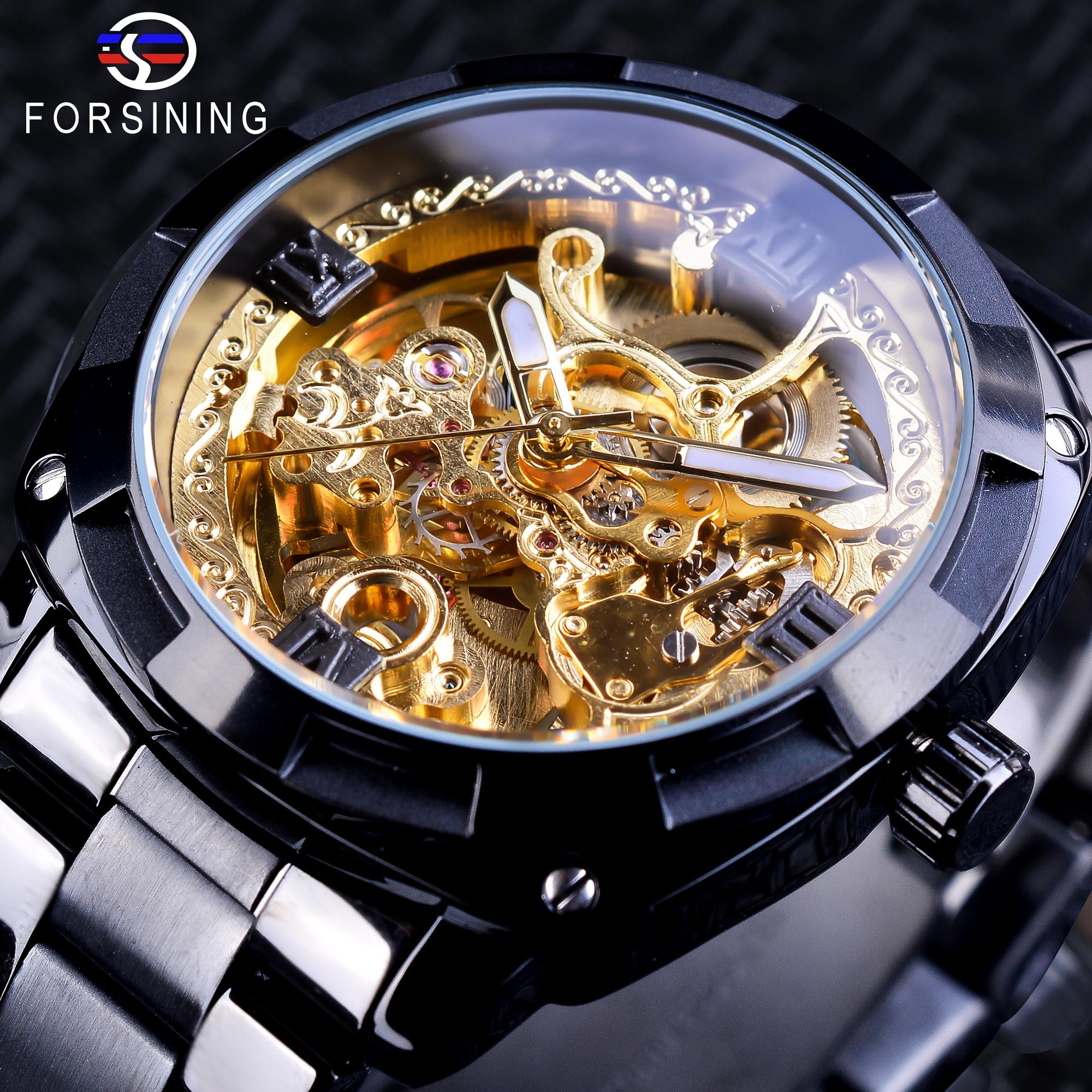 цена Forsining Retro Design Golden Skeleton Black Stainless Steel Transparent Watch Men Automatic Mechanical Watches Top Brand Luxury онлайн в 2017 году