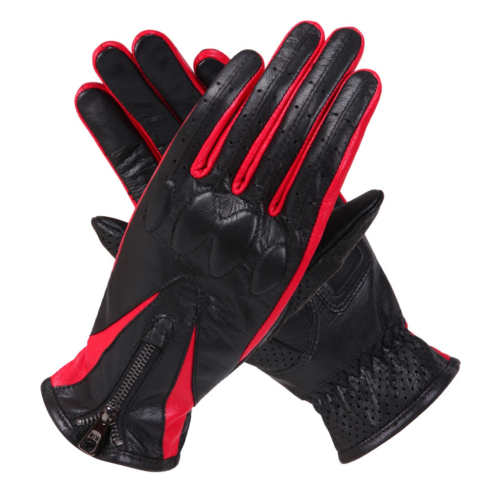 Motorcycle Gloves Spring Summer Woman 39 s Leather Motorcycle Gloves Anti Skid Off Road Driving Zipper Sheepskin Gloves SZ019 in Women 39 s Gloves from Apparel Accessories