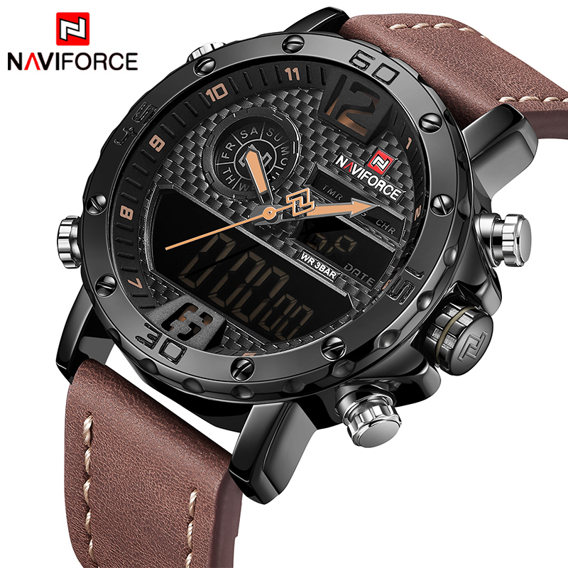 Mens Watches To Brand Luxury NAVIFORCE Men Sports Watches Waterproof LED Digital Quartz Men's Military Wrist Watch Male Clock luxury top brand men watch leather sports watches naviforce men s quartz led digital clock waterproof military wrist watch male