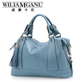 WILIAMGANU female handbags fashion inclined soft leather satchel head layer cowhide leather handbag tassel single shoulder bag