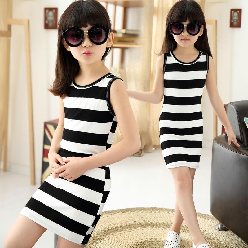 2019 dítě děti Dívčí oblečení černé a bílé pruhy letní dívčí šaty 100% bavlna 3-14 let dětská vesta šaty pro dívky