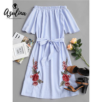 AZULINA Striped Flower Patched Belted Dress Women Fashion Casual Off The Shoulder Half Sleeve Ruffles Beach