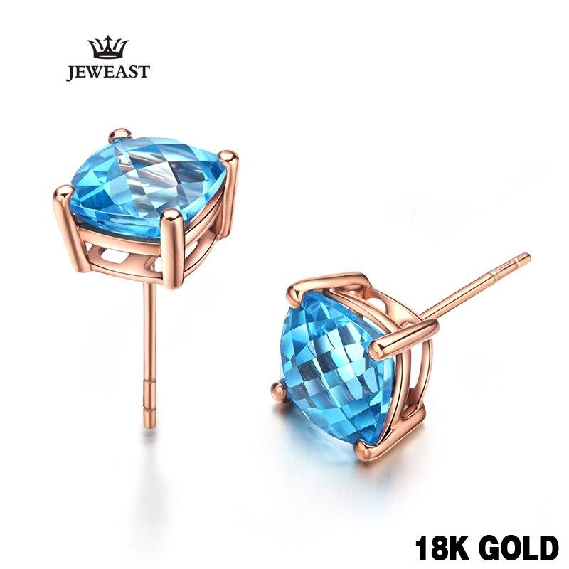 Серьги-гвоздики из чистого розового золота 18 К с натуральным голубым топазом, простой элегантный и классический подарок для матери, сапфир, ...