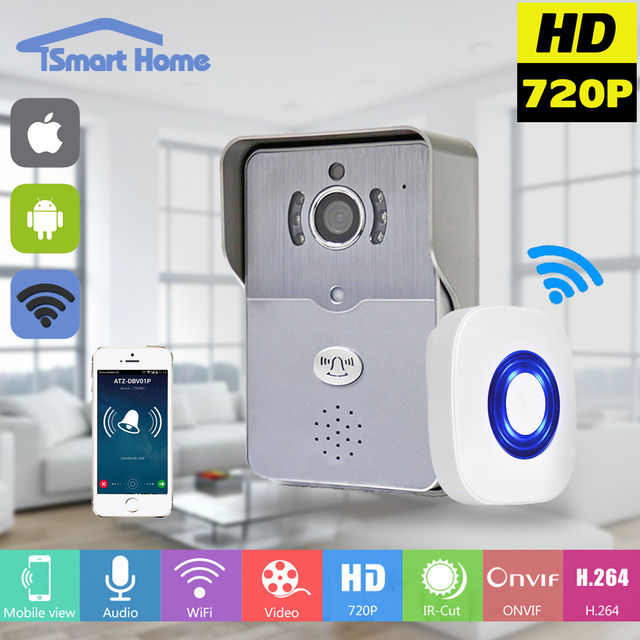 Wireless IP Doorbell With 720P Camera Video Phone WIFI Door bell Night Vision IR Motion Detection Alarm for IOS Android