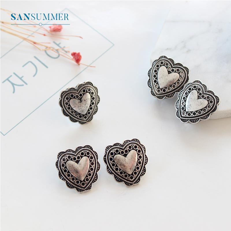 2019 Vintage Heart Women Rings Anti-allergy Minimalist Jewelry Anillos Mujer Fashion Lovely Fine Rings Bijouterie For Women Girl