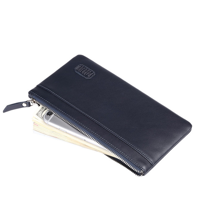Men's fashion long section of thin tide male zipper cowhide leather money clip BB047