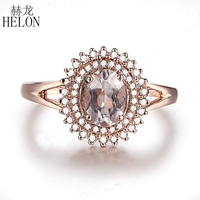 HELON Solid 14K Rose Gold Certified Oval 0.9ct Natural Morganite Diamonds Ring Women Engagement Wedding Exquisite Fine Jewelry