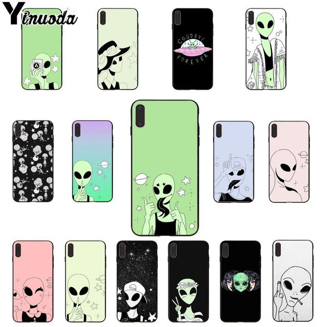 Yinuoda Funny Alien Drawings of Aliens DIY Phone Case cover Shell for Apple iPhone 8 7 6 6S Plus X XS MAX 5 5S SE XR Cover