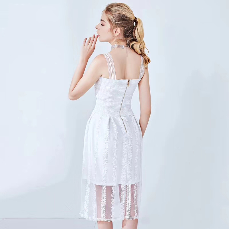 64fbb11c1b24b US $28.23 49% OFF Young Gee White Cami Bandage Dress 2019 Summer Spaghetti  Strap Sleeveless Mesh Embroidery Floral Women Party Dresses vestidos-in ...