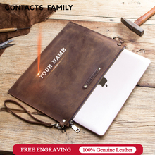 Crazy Horse Genuine Leather Laptop Notebook Case For Apple MacBook 12 inch Computer Pocket For MacBook Sleeve Pouch Zipper Bag