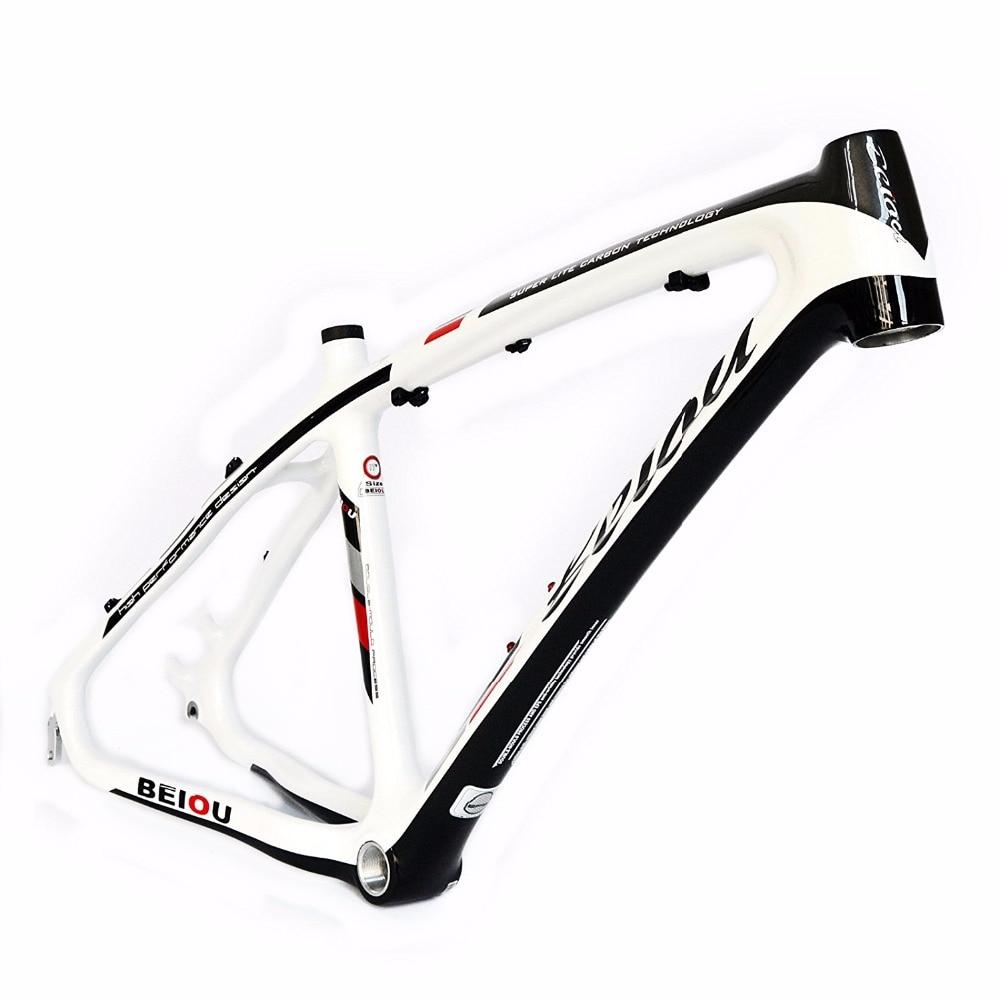 BEIOU 3K Carbon Fiber Mountain Bike Frame 26 Inch Glossy White Black ...