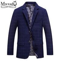 Mwxsd brand Autumn Men Plaid striped Blazer Suit jacket Men's Fashion Slim fit solid blazer jacket Casual male blazer