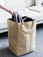 Linen Dirty Clothes Bag Nordic Large Dirty Clothes Storage Basket Moisture proof Hamper Storage Basket