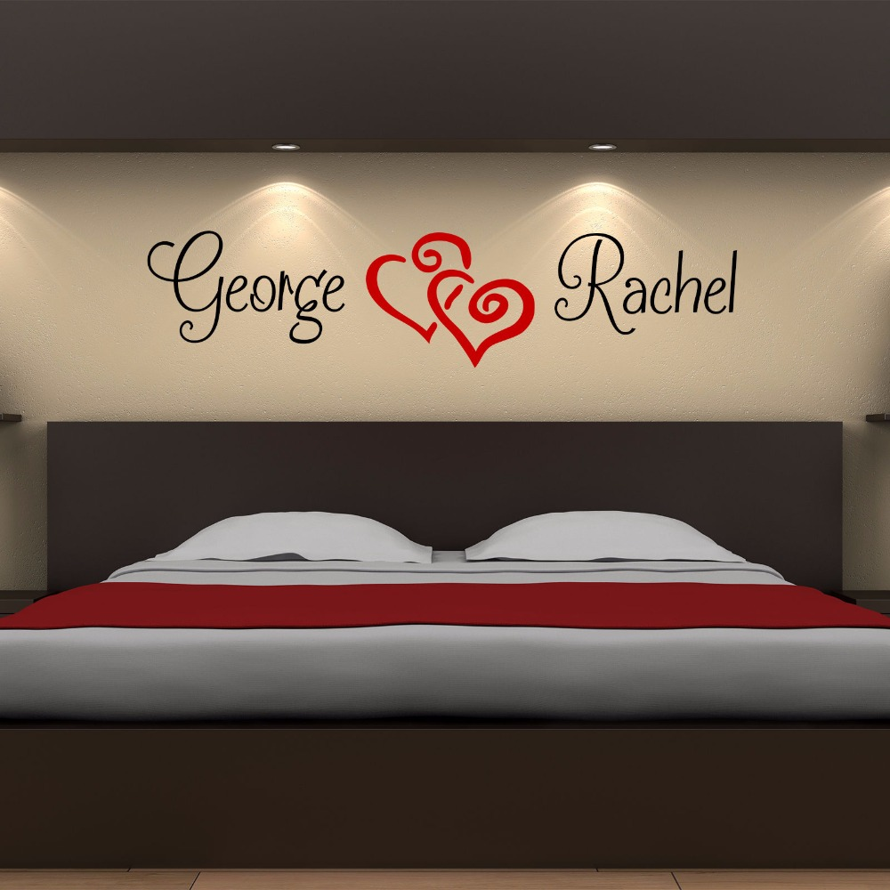 Custom Made Personalized Name Love Hearts Wall Sticker Bedroom Vinyl Decor  Love Nest Room Decoration You Choose Name And Color In Wall Stickers From  Home ...