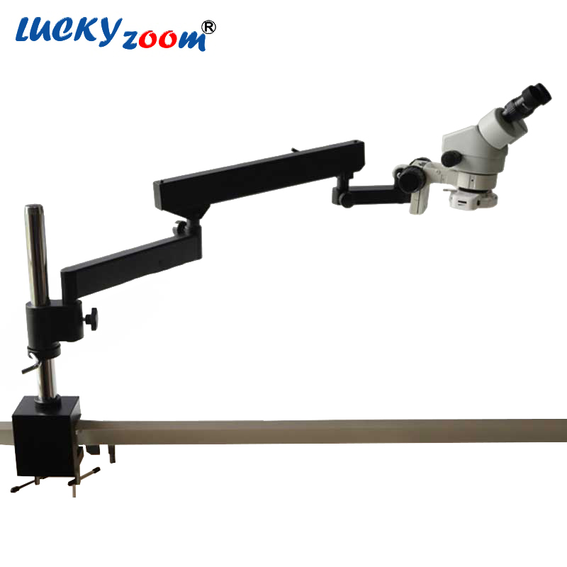 Lucky Zoom Brand 7X-45X Industrial Binocular Microscope Articulating Arm Pillar Clamp 144 LED Stereo Zoom Microscope  lucky zoom brand strong darticulating arm pillar clamp stand for stereo microscopes microscope accessories free shipping