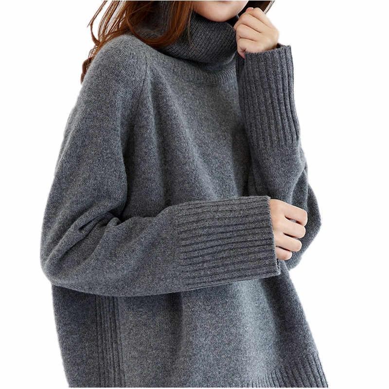 2019 Musim Dingin Tebal Pullover Sweater Wol Wanita Turtleneck Lengan Panjang Rajutan Jumper Wanita Longgar Sweater