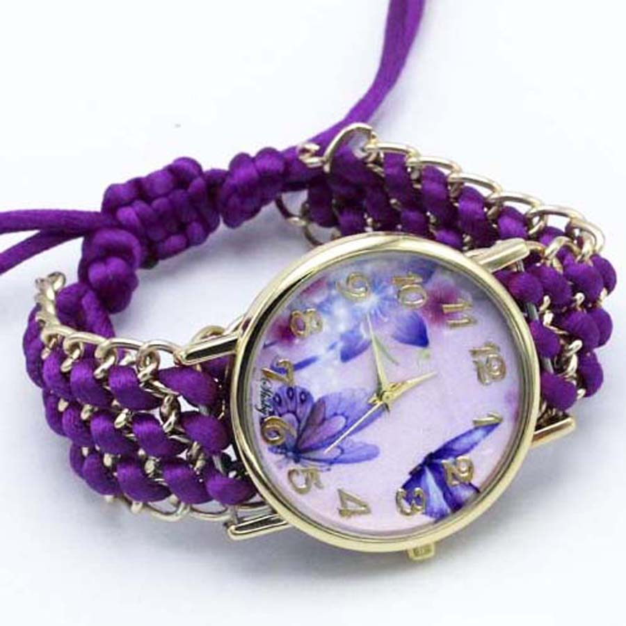 shsby nya Ladies Flower hand-stickade armbandsur guld kvinnor - Damklockor - Foto 2