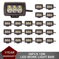 20PCS 15W Offroad LED Work Light Driving Fog Lamp Car ATV SUV 4WD UTE 4X4 4WD Motorcycle Truck Auto Auxiliary Headlight 12V 24V
