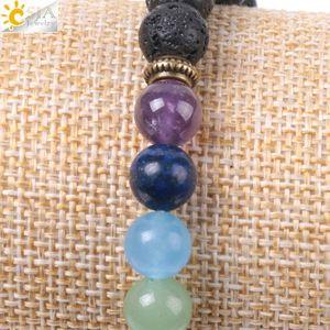 Image 4 - CSJA Natural Black Lava Beads Men Bracelets Muti color 7 Chakra Mala Stone Prayer Meditation Diffuser Energy Reiki Jewelry E955