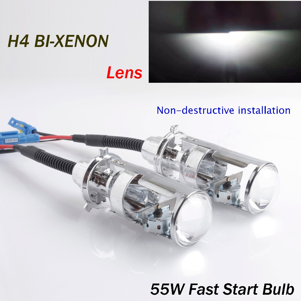 2018 Rushed H4 Car Style 6000k 55w Bi Xenon Projector Lens Lhd for Hid Hi/low Lighthouse Easy Installation Type To 35w And 5
