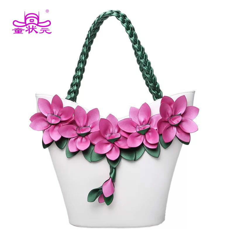 2018 The New Female Flower Bag Splicing Hit Color Fluorescent Fashion Flowers Woven Large Capacity Shoulder Bag Fashion Tote bow decor flower woven tote bag