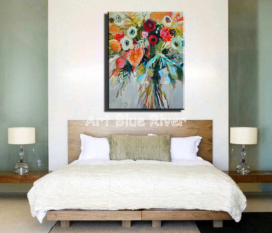 Superb Us 48 38 18 Off Large Canvas Wall Art Modern Abstract Watercolor Decorative Floral Vintage Oil Painting On Canvas For Living Room Decoration In Home Interior And Landscaping Palasignezvosmurscom