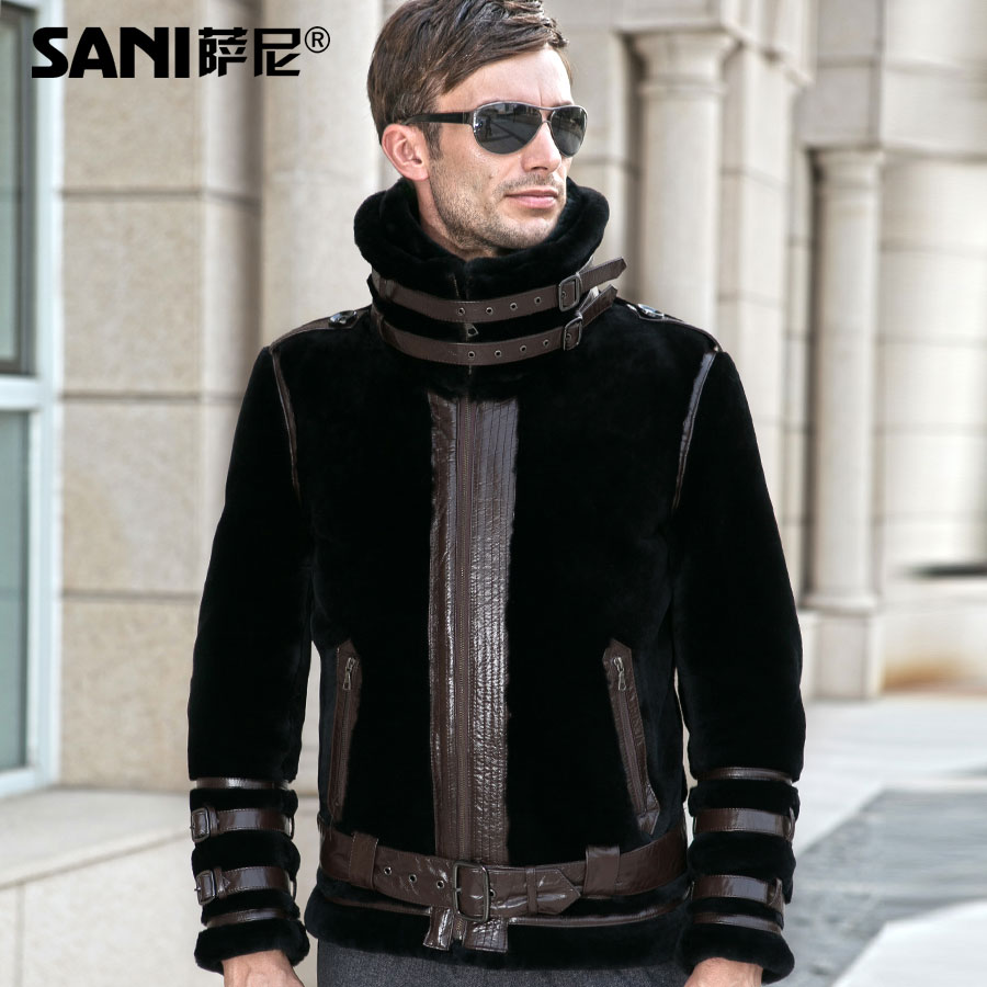 157da8287 Sheepskin Double-faced Fur Coat Fashion Real Fur Genuine natural Fur Coats  For men Winter Outerwear Motorcycle style Motorcy