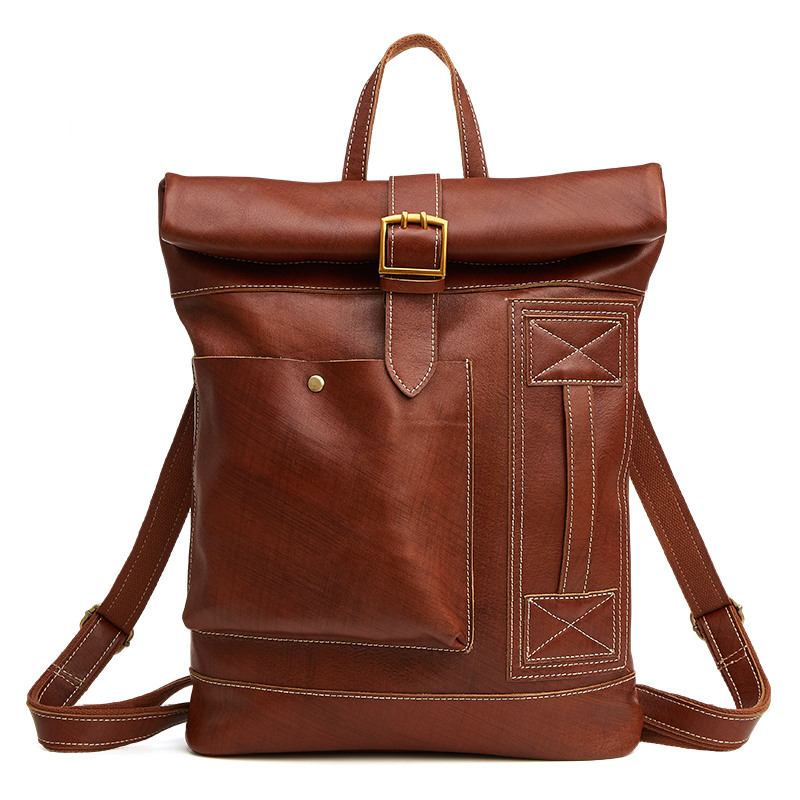 Disciplined Nesitu High Quality Brown Color Real Skin Genuine Leather Men Backpacks Travel Bags #m6396 Luggage & Bags