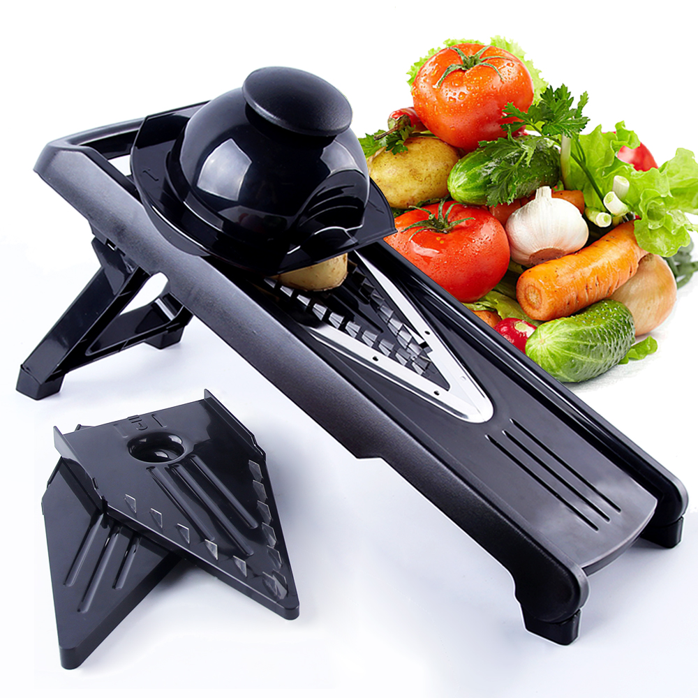 Professional Vegetable Slicer - V Type Mandoline Slicer Cutter with 5 Blades Potato Slicer Chopper Onion Slicer Carrot Grater