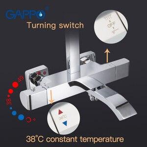 Image 3 - GAPPO douchekraan thermostatische badkamer kraan thermostatische mengkraan wall mounted regendouche set mengkraan douche systeem