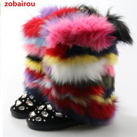 2018 winter woman Ladies fur snow boots leather stockings mixed colors bota feminina crystal girls shoes woman booties flats