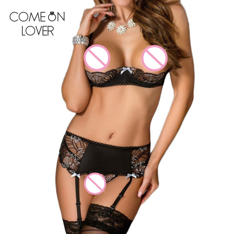 Comeonlover Open Bust Sexy Lingerie Bra Set Adjustable Black Plus Size Underwear Sets With Belt Half Cup Garter Bra Set RL80319