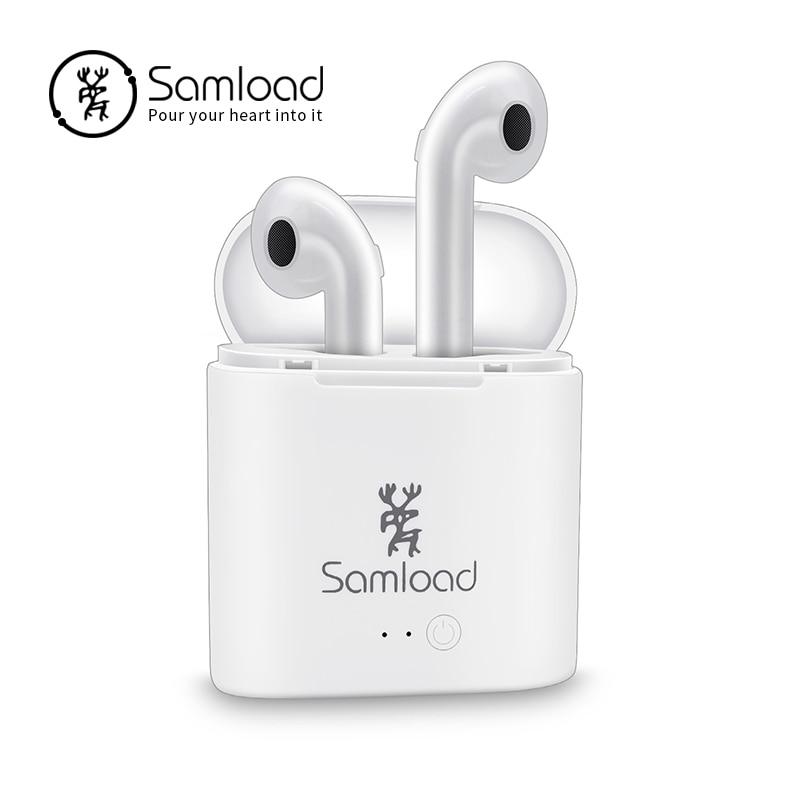 Samload Bluetooh Earphone Earbuds i7 TWS Stereo Earphone Wireless Music Headset Sport For Apple iPhone 6 Xiaomi Huawei Android