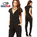 PU Collar Black Overalls For Women Summer Plus Size Elegant New Rompers Womens Jumpsuit 2017 Long V-neck Macacao Feminino Female