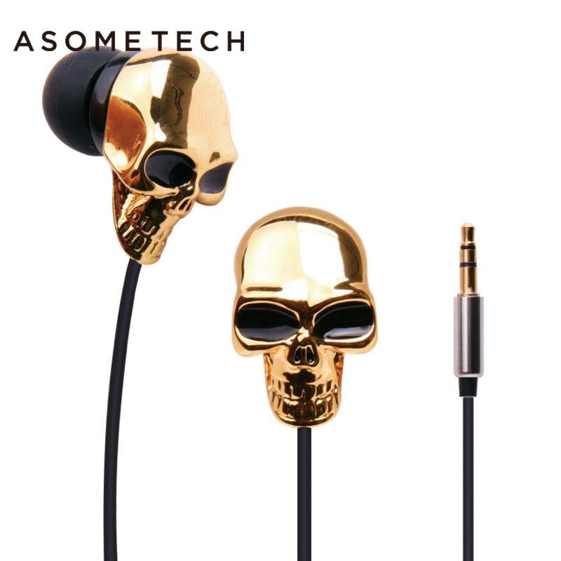 Metal Skull Earphone Heavy Bass Music Headset High Performance In-Ear 3.5mm Earphones Original Cool Box Halloween Christmas Gift kz headset storage box suitable for original headphones as gift to the customer