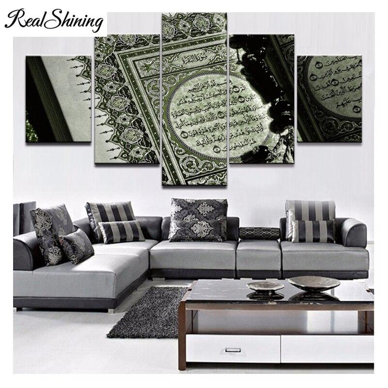 REALSHINING diy 3d Diamond embroidery full square 5pcs Islam Bible 5d mosaic diy diamond painting cross