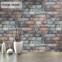 HaokHome Vintage 3D Faux Brick Wallpaper Roll 0.53m*10m Stone Textured Contact paper Living Room Kitchen Wall paper Wall Decor