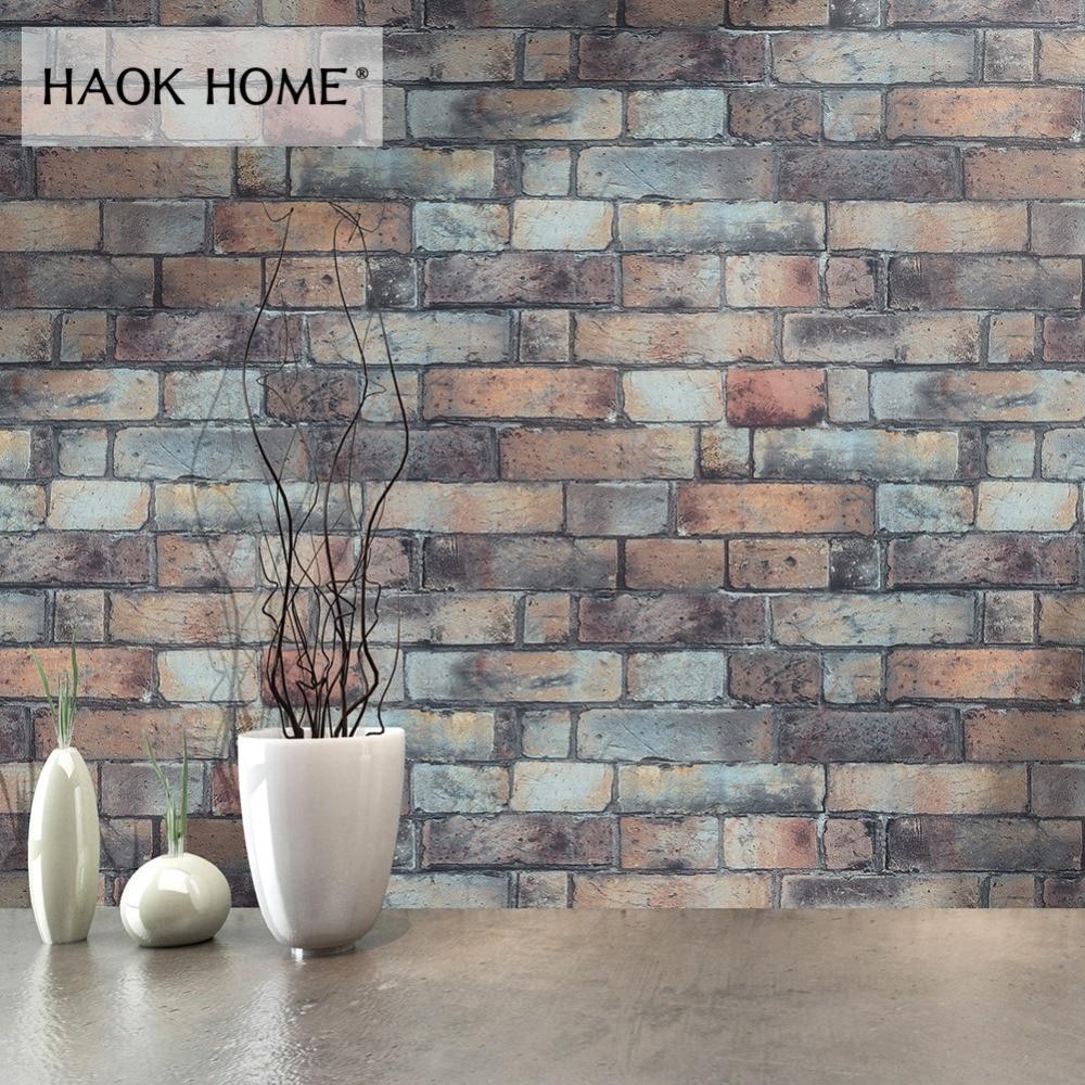 HaokHome Vintage 3D Faux Brick Wallpaper Roll 0.53m*10m ...