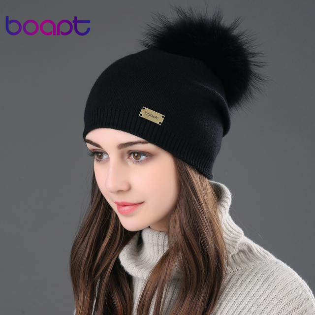 BOAPT metal logo double-deck cashmere wool caps genuine raccoon fur pompon hat winter for women cap Female hats knitted beanies
