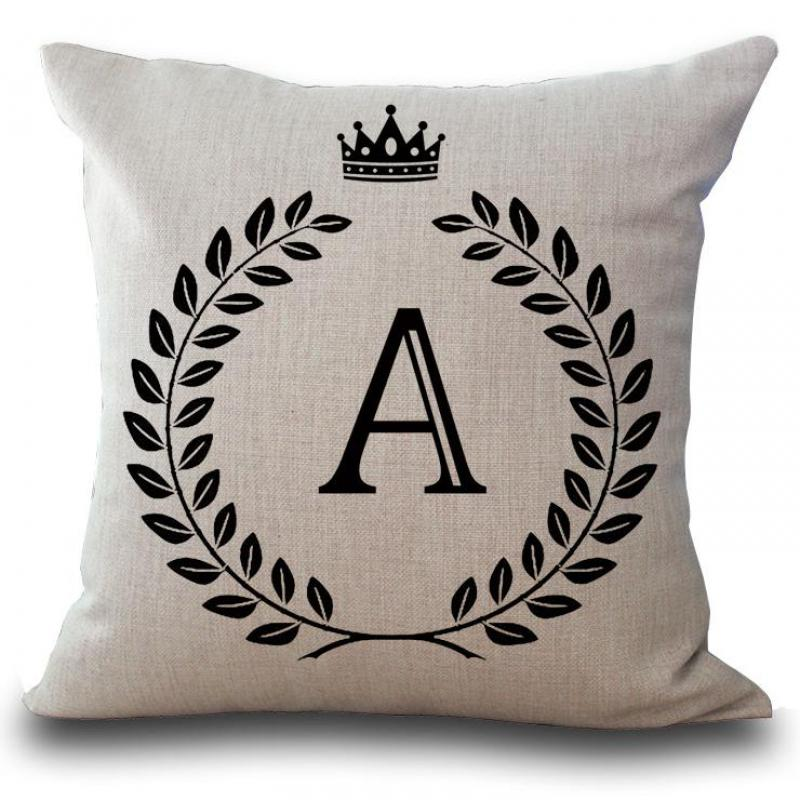 Factory Wholesale Customized English Letter Stamp Cotton Linen Decorative Pillow Sofa Car Seat Cushion For Children Gift Cojines