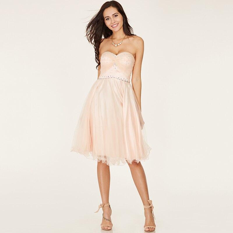 Tanpell kort hemkomst klänning rosa älskling ärmlös över knä en - Särskilda tillfällen klänningar - Foto 6