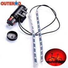 OUTERDO MTB Mountain Bicycle Fork Strip Light Bar 12 LED 8 Modes Waterproof Wheel Lamp Bicicleta Frame Front Rear Night Lights(China)