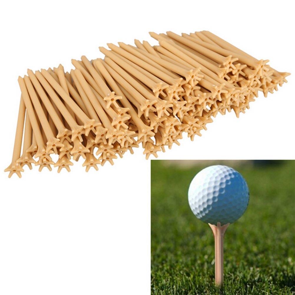 100 Pcs 70mm Pack Professional Frictionless Golf Tee Wheat Golf Tees Plastic