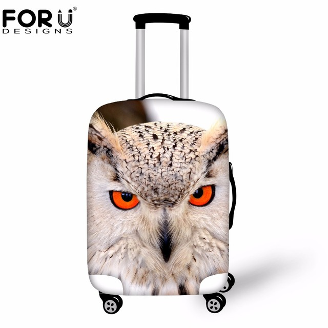 FORUDESIGNS Cool Animal Owl Travel Suitcase Protective Covers Anti-dust Travel Luggage Cover Apply to18-30 Inch Storage Bag Case