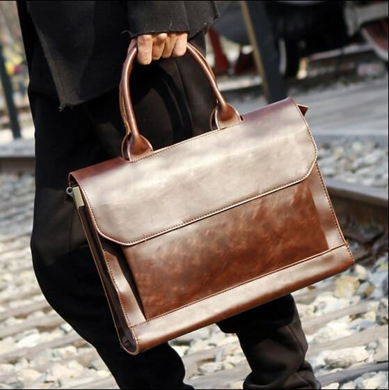 2017 fashion man designer handbags high quality cartera hombre marca men briefcases maleta retro leather messenger bag B00003