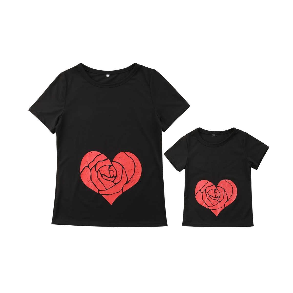 Emmamaby verano corazón mamá hija bebé niñas familia juego camiseta Tops ropa