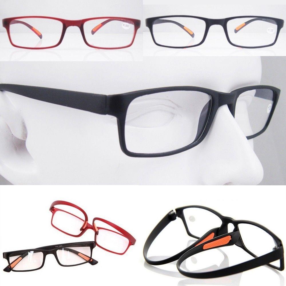 AGSTUM TR-90 Flexibled Reading Glasses Red Black Eyeglass Frame +1 +1.5 +2 +2.5 +3 +4