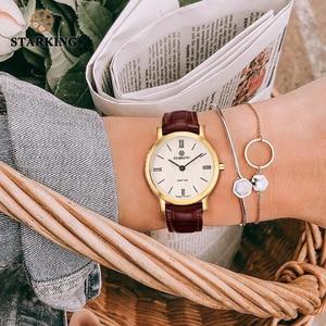 Image 5 - STARKING Reloj de acero inoxidable para mujer, de zafiro Delgado, de cuarzo japonés, Vintage, femenino